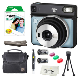 Fujifilm Instax Square SQ6 Instant Film Camera(Aqua Blue)+2 Pack of 10 Instax Square Films+ Camera Bag, Tripod, 2in1 Spray & Brush Lens Pen, and Quality Photo Microfiber Cloth (Aqua Blue)