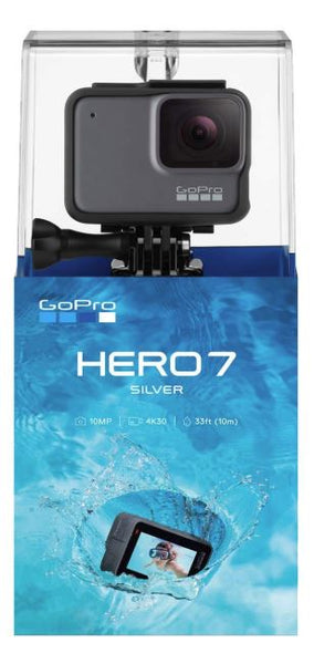GoPro HERO7 Silver - W/SanDisk Extreme 32GB Micro SDHC, with an Essential Accessory Kit Bundle, Includes: Car Mount, Head Strap, Wrist Strap, Extendable Monopod, Carrying Case – Large + More