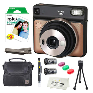 Fujifilm Instax Square SQ6 Instant Film Camera(Blush Gold)+2 Pack of 10 Instax Square Wide Films+ Camera Bag, Tripod, 2in1 Spray & Brush Lens Pen, and Quality Photo Microfiber Cloth