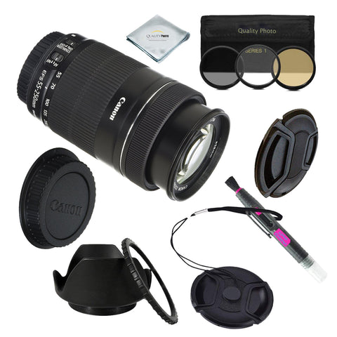 Canon EF-S 55-250mm F/4-5.6 IS STM Telephoto Zoom Lens BUNDLE WITH USEFUL ACCESSORIES