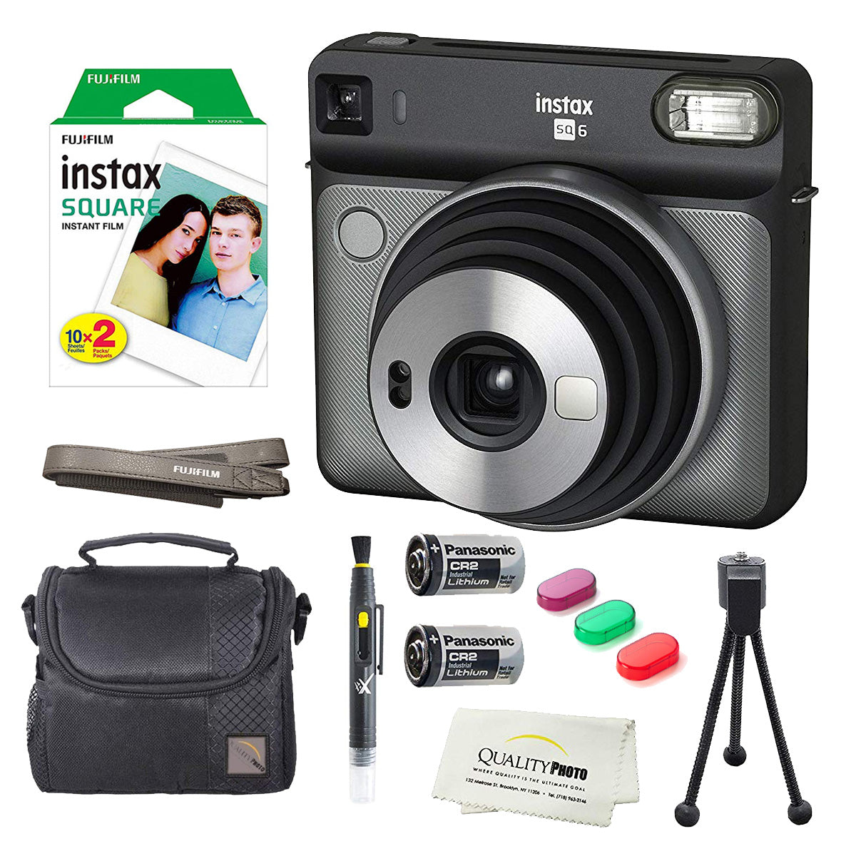 Fujifilm Instax Square SQ6 Instant Film Camera(Graphite Gray)+2 Pack of 10 Instax Square Wide Films+ Camera Bag, Tripod, 2in1 Spray & Brush Lens Pen, and Quality Photo Microfiber Cloth