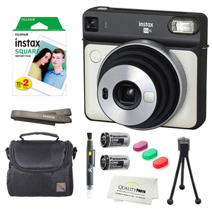 Fujifilm Instax Square SQ6 Instant Film Camera(Pearl White)+2 Pack of 10 Instax Square Films+ Camera Bag, Tripod, 2in1 Spray & Brush Lens Pen, and Quality Photo Microfiber Cloth (Pearl White)
