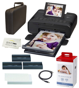 Canon SELPHY CP1300 Wireless Compact Photo Printer with AirPrint and Mopria Device Printing, Black, with Canon KP108 Paper and Black Hard case to fit All Together