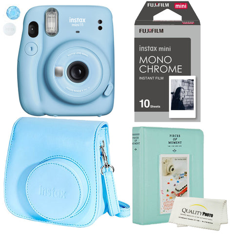 Fujifilm Instax Mini 11 Polaroid Sky Blue Instant Camera Plus Original Fuji Case, Photo Album and Fujifilm Monochrome 10 Films