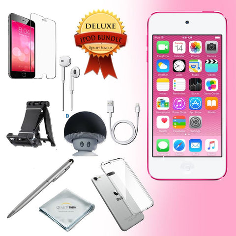 Apple iPod Touch 6th Generation Music Player, 128GB - w/iTouch Accessory Kit Includes; Bluetooth Speaker w Clear Case & Screen Protector w iPod 5-Angle Adjustable Stand w iPod Stylus Pen w Cloth