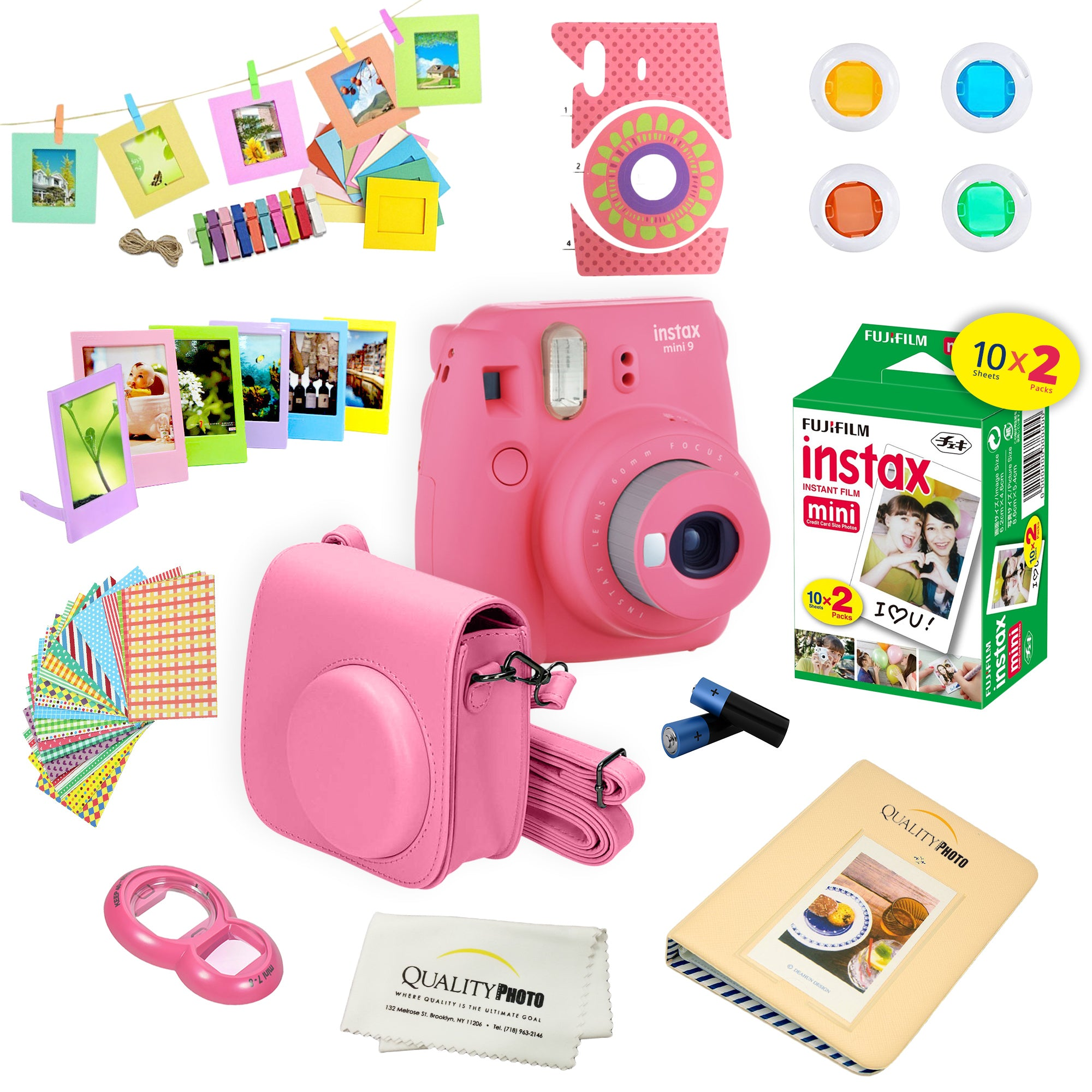 Fujifilm Instax Mini 9 Instant Camera w/ Film and Accessories - Polaroid Camera Kit