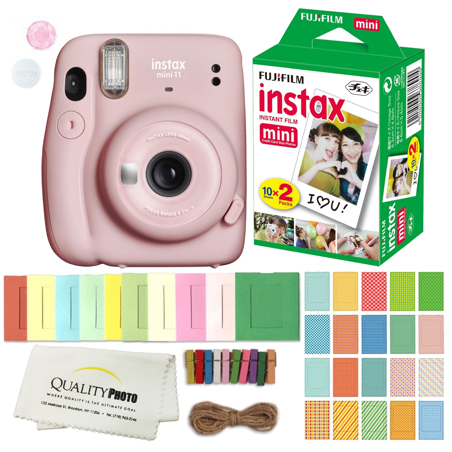 FUJIFILM INSTAX Mini 11 Instant Film Camera (Blush Pink) Plus Instax Film and Accessories Stickers, Hanging frames and Microfiber Cloth