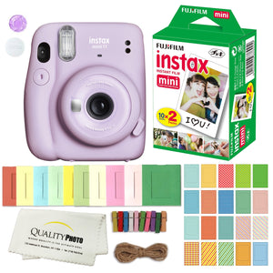 FUJIFILM INSTAX Mini 11 Instant Film Camera (Lilac Purple) Plus Instax Film and Accessories Stickers, Hanging frames and Microfiber Cloth