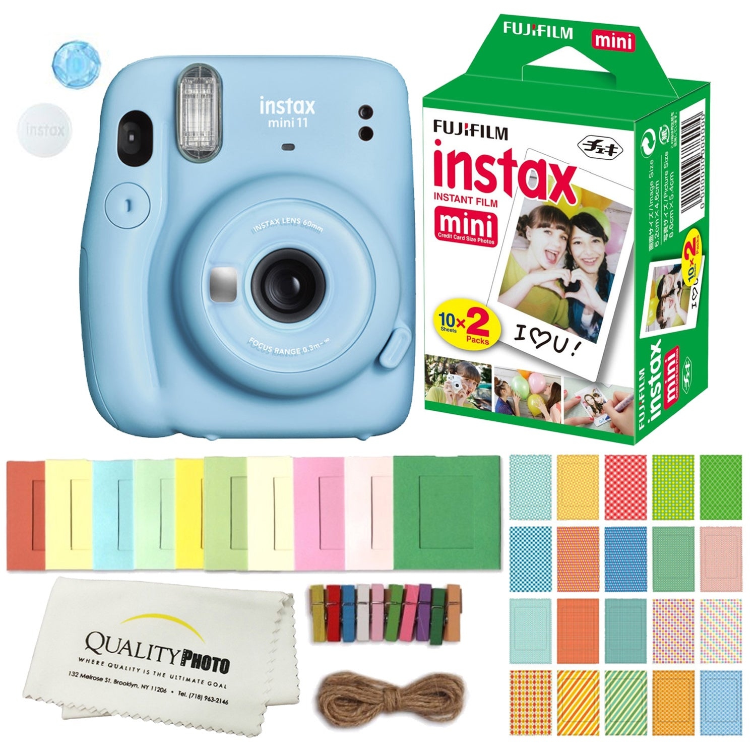 FUJIFILM INSTAX Mini 11 Instant Film Camera (Sky Blue) Plus Instax Film and Accessories Stickers, Hanging frames and Microfiber Cloth