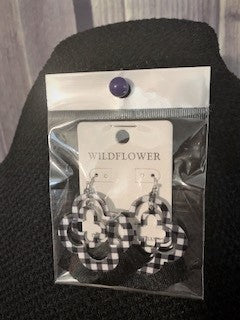Lucky Clover Black & White Buffalo Plaid Earrings