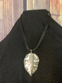 Metal Silver Leaf Pendant w/Black Leather Bands - 16
