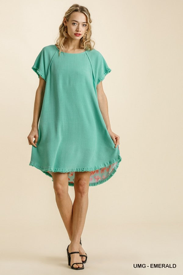 Short sleeve dress with floral back with fringe hem