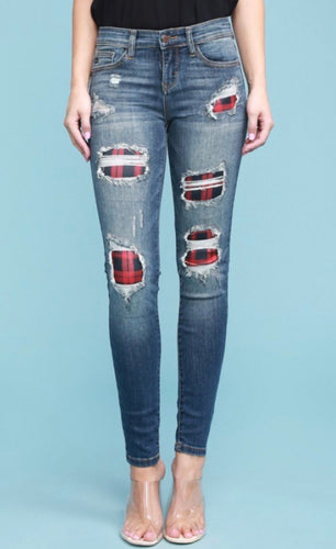 Judy Blue Jeans. Distressed plaid