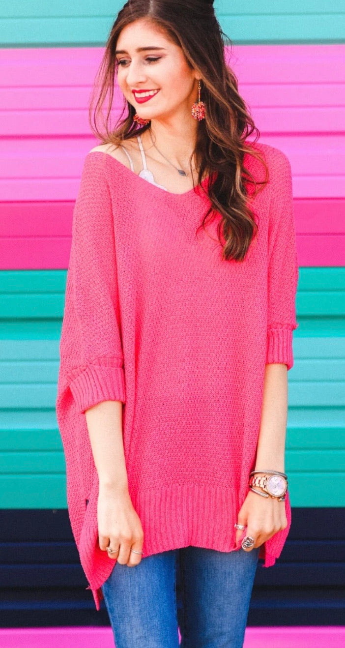 Jenna Hi Lo Tunic Hot Pink