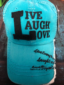 Teal live laugh love hat