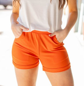 Tangerine Cuffed Shorts with elastic waist