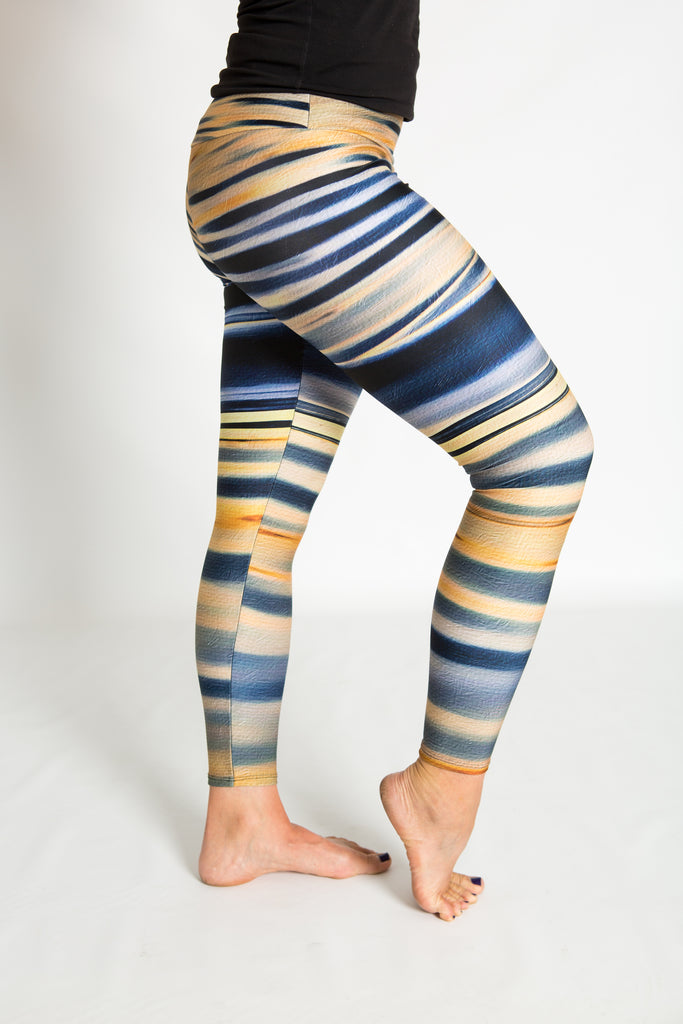 Women's leggings made in Colorado - Reflection Lake Sunset - 1