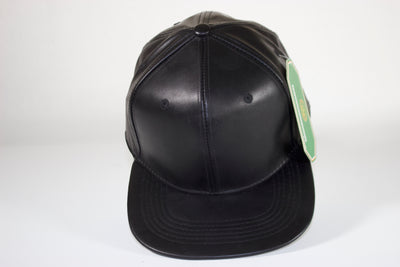 Faux Leather Snapback Ball Cap