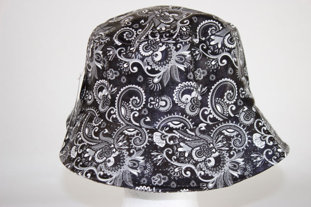 Faux Leather Floral Bucket Hat