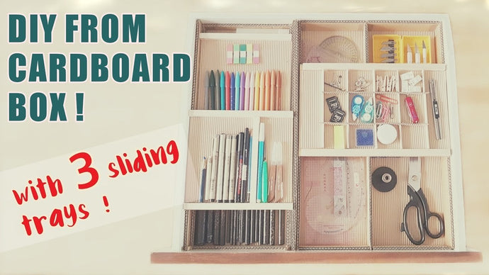 How to make a 3 level desk drawer organizer with sliding trays from a cardboard box