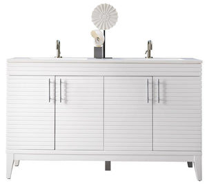 "59"" Lineage Double Sink Bathroom Vanity, Glossy White"
