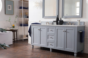 "Copper Cove Encore 72"", James Martin Silver Grey Bathroom Vanity, double sink"