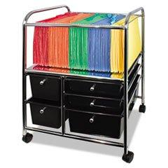 ** Letter/Legal File Cart W/ 5 Storage Drawers, 15-1/4W X 21-7/8D X 28-7/8H, Black **