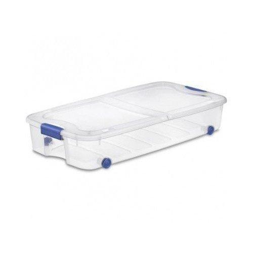 Purchase 4 pack under bed plastic storage bin unit boxes are containers for clothes books diapers shoes linen office supplies camping rv pantry foods 66 quart capacity