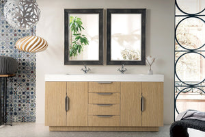 "Bainbridge 72"" James Martin Tribeca Oak Bathroom Vanity, Double Sink"