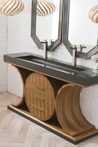 "Oasis 72"" Double Vanity Zebrano Wood Gold"