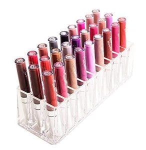 FAJ Shatterproof Extra Thick Acrylic Lipgloss Makeup Organizer, 27 Spaces (3 Bonus), Vanity Display, Countertop or Drawer Lip Gloss, Liquid Lipstick Holder