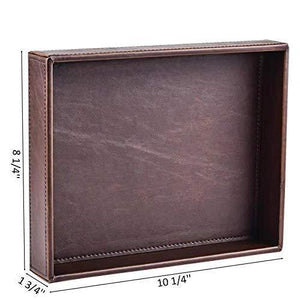 Organize with decor trends brown 10 2x8 3 rectangle vintage leather decorative office desktop storage catchall tray valet tray nightstand dresser key tray
