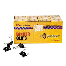 "PRIMEPACK Heavy Duty Binder Clips | Bulk Pack of 12 - Medium Metal Paper Clamps for Organization, Presentation Papers, Planner, Documents, School and Office - 1 – 1/4"" Paper Clamps"