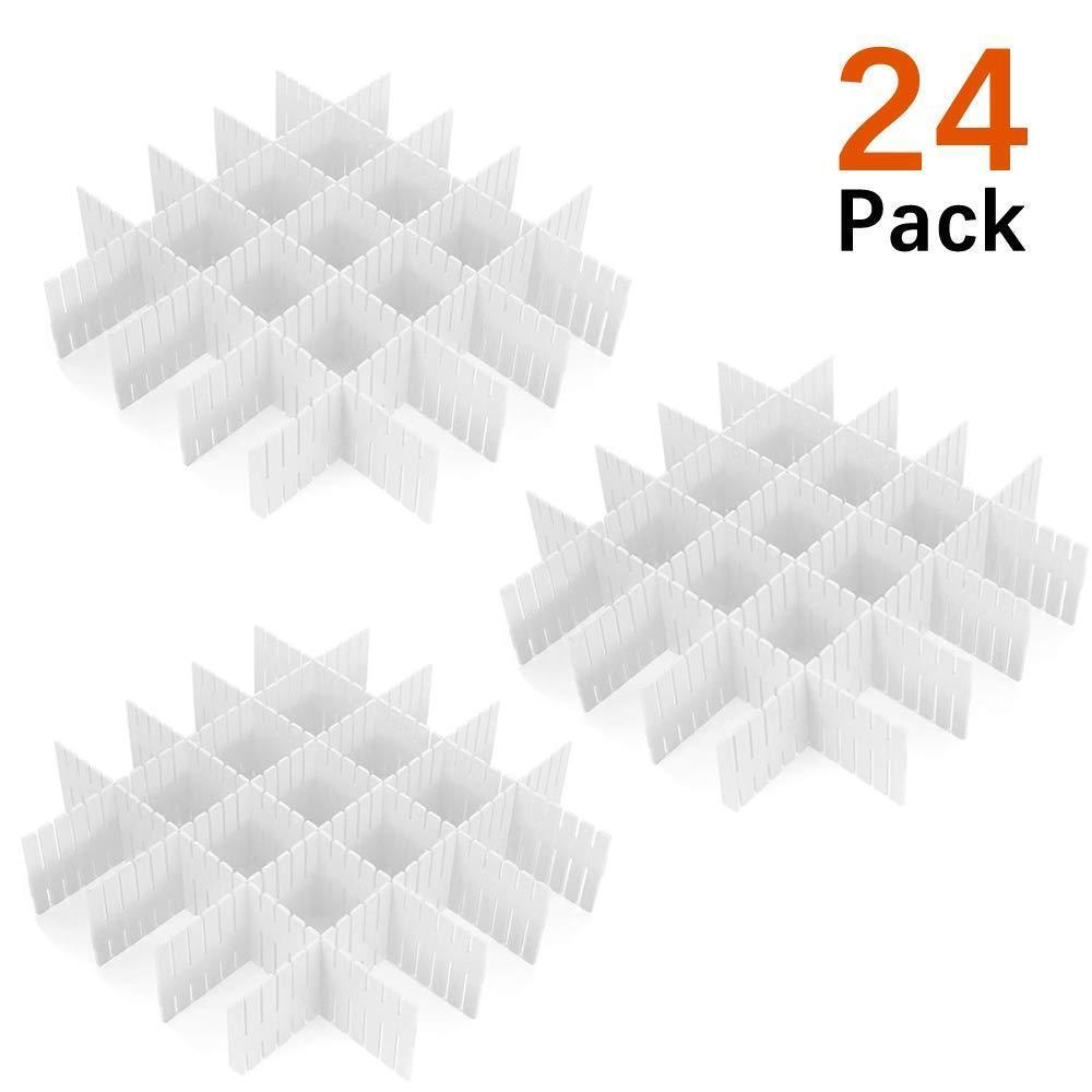 24 Pcs Plastic DIY Grid Drawer Divider Household Necessities Storage Thickening Housing Spacer Sub-Grid Finishing Shelves for Home Tidy Closet Stationary Socks Underwear Scarves Organizer (White)