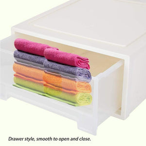 Ejoyous Drawer Storage Box, Multifunctional Large Plastic Drawer Storage Organizer, Storage Bins Container for Small Sundries Underwear Magazines Files Makeups Home Accessories