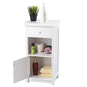 Discover the tangkula bathroom floor storage cabinet wooden storage cabinet for home office living room bathroom one drawer cupboard organize freestanding cabinet white
