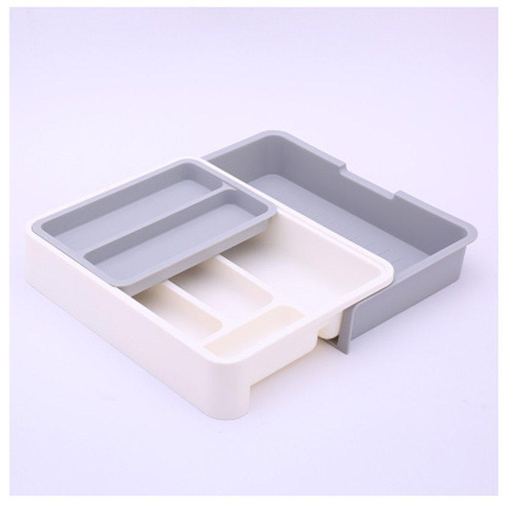 Stock Show Expandable/Stackable/Movable/Adjustable Plastic Cutlery Tray Kitchen Utensil Drawer Organizer Tableware Holder Silverware Store(Grey)