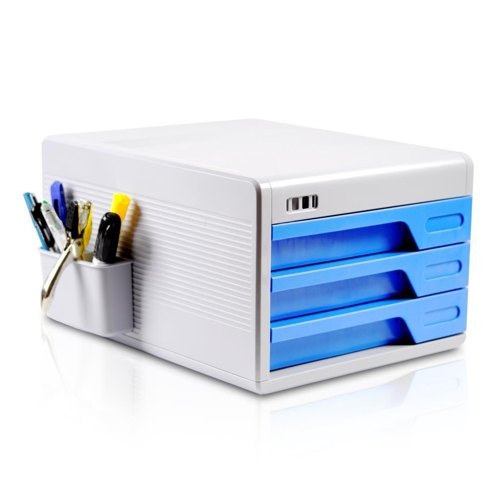 Locking Drawer Cabinet Desk Organizer - Home Office Desktop File Storage Box w/ 3 Lock Drawers, Great for Filing & Organizing Paper Documents, Tools, Kids Craft Supplies - SereneLife SLFCAB10