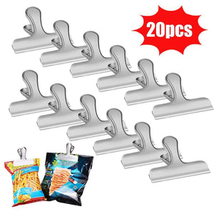 20PCS Stainless Steel Clips,LovesTown 3 Inches Wide Chip Clips Bag Clips Heavy Duty Clips for Perfect for Air Tight Seal Grips on Coffee,Food & Bread Bags,Office Kitchen Home Usage