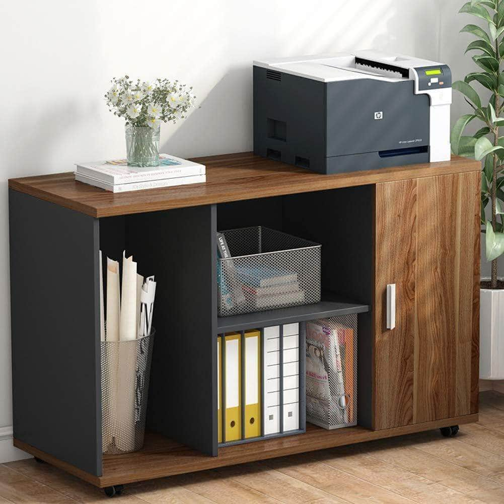 Shop for file cabinet little tree 39 large storage printer stand mobile filing office cabinet with wheels door and open shelves for home office dark walnut
