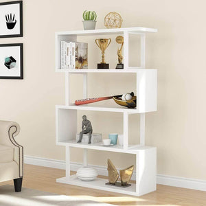 Latest tribesigns 4 shelf bookcase modern bookshelf 4 tier display shelf storage organizer for living room home office bedroom white