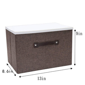 Top rated dmjwn foldable cloth storage tool box bin storage basket lid collapsible linen and handles organizer bins single handle for home closet office car boot brown