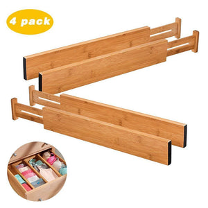 ShineMe Drawer Dividers Bamboo Set of 4 Kitchen Separators Organizers, Spring Adjustable & Expendable, Suitable for Bedroom, Baby Drawer, Bathroom and Desk