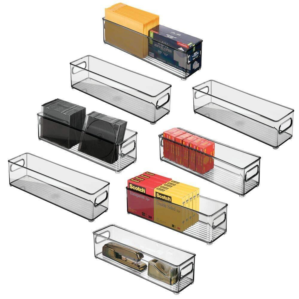 On amazon mdesign stackable plastic office storage bin holder desk drawer organizer tote with handles for organizing gel pens erasers tape pencils highlighters markers 14 5 long 8 pack smoke gray