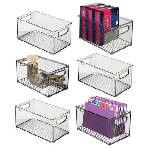 Results mdesign stackable plastic storage bin container with handles for home office holds gel pens erasers tape pens pencils markers notepads highlighters staplers 5 high 6 pack smoke gray