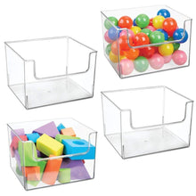 Budget friendly mdesign deep plastic home storage organizer bin for cube furniture shelving in office entryway closet cabinet bedroom laundry room nursery kids toy room open front 12 wide 4 pack clear