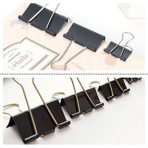 Anphsin 144Pcs Binder Clips Assorted Sizes – Black Paper Clamp School Binders Office Clips (0.6inch, 0.75inch, 1inch, 1.25inch)