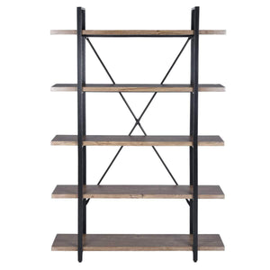 Top rated framodo 5 shelf open vintage industrial bookshelf rustic wood and metal 5 tier bookcase for home office organizer and display shelves