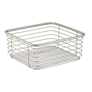 Organize with mdesign modern bathroom metal wire metal storage organizer bins baskets for vanity towels cabinets shelves closets pantry kitchens home office 9 75 square 4 pack satin