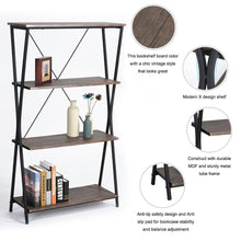 Best aingoo 4 shelf bookcase vintage industrial bookshelf mdf with metal frame shelving unit home office shelf organizer multipurpose storage shelf display rack brown